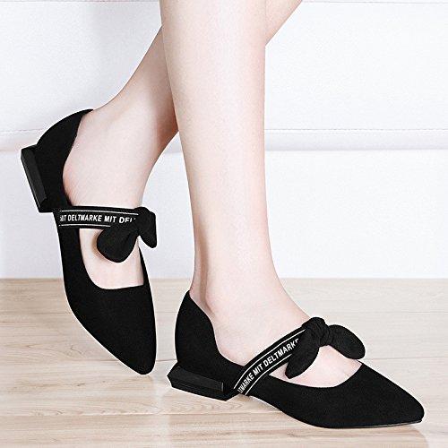 Sandali basse un estate scarpe solo AJUNR Da black le le scarpe Donna Alla retro Moda scarpe inchino RdU1qwxC