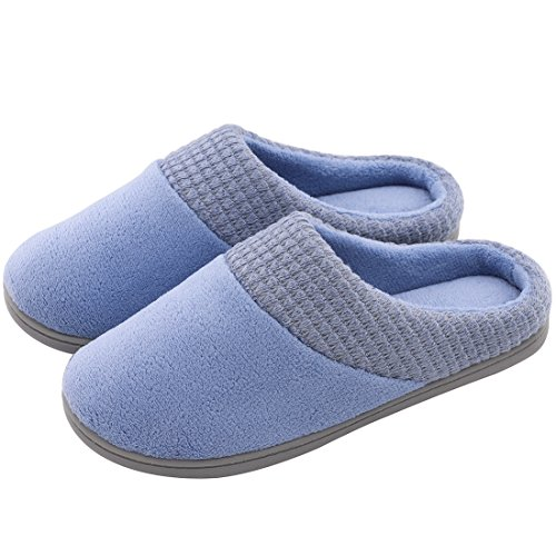 y Plush Memory Foam Slippers Slip-Resistant Indoor & Outdoor House Shoes w/Classic Fabric Knit Collar (Large / 9-10 B(M) US, Blue) ()