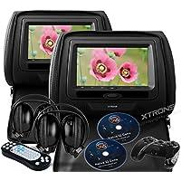 XTRONS® Black 2x Twin Car Headrest DVD Player USB Sd Slot 7 Hd Screen Game IR Headsets