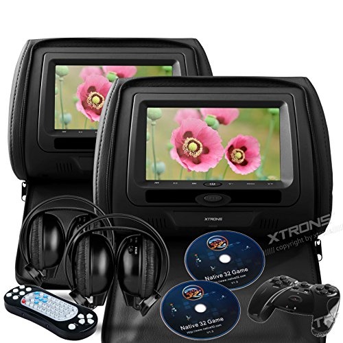 (XTRONS Black 2x Twin Car Headrest DVD Player USB Sd Slot 7