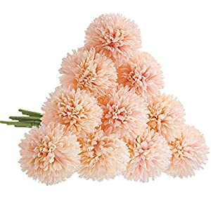 CQURE Artificial Flowers, Fake Flowers Silk Plastic Artificial Hydrangea 10 Heads Bridal Wedding Bouquet for Home Garden Party Wedding Decoration 10Pcs (Pink Champagne)