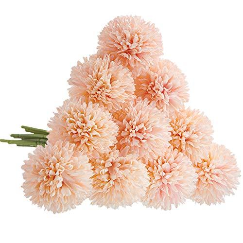 CQURE Artificial Flowers, Fake Flowers Silk Plastic Artificial Hydrangea 10 Heads Bridal Wedding Bouquet for Home Garden Party Wedding Decoration 10Pcs (Pink Champagne)