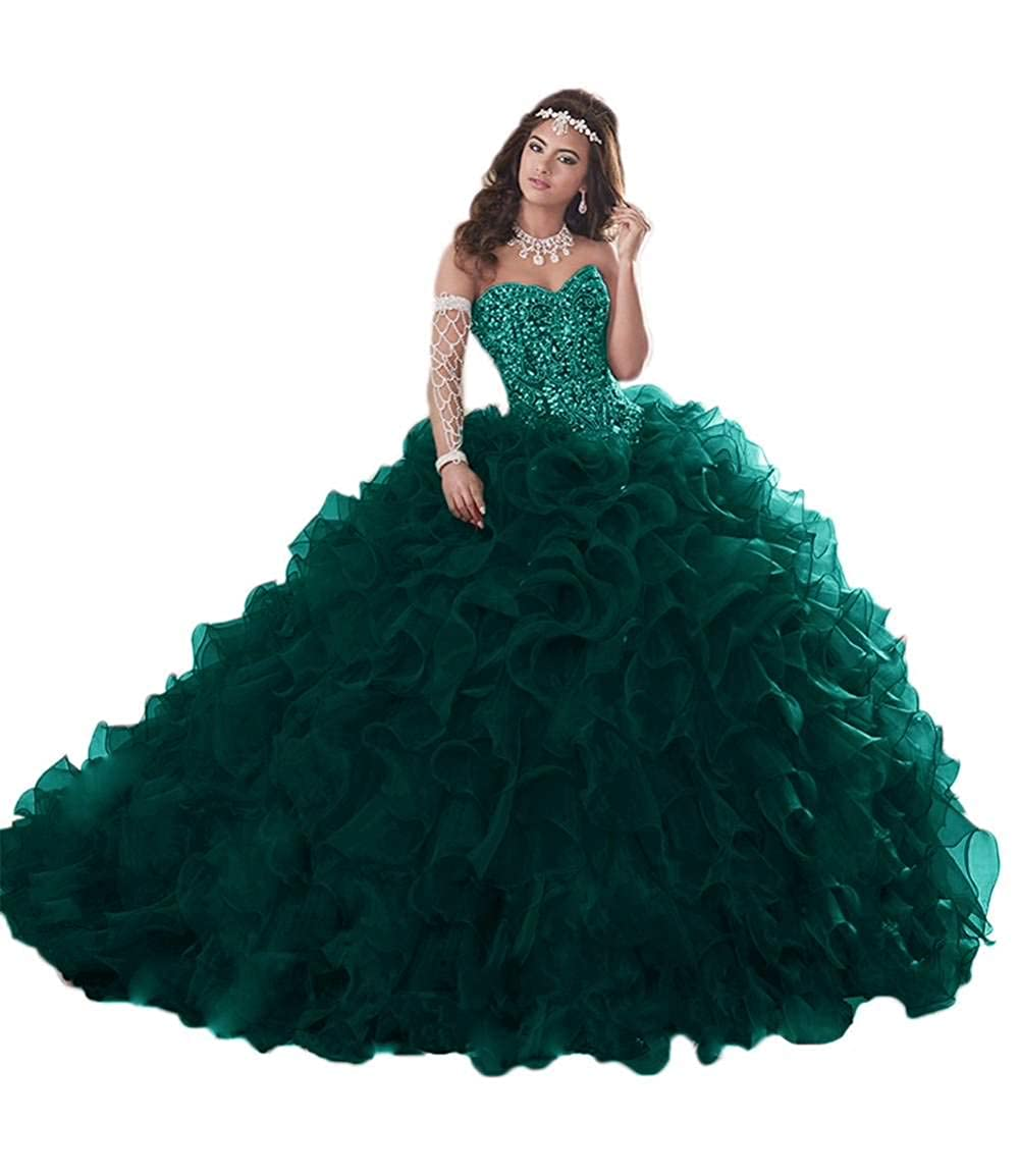 Dark Green Jerald Norton Ltd Gorgeous Heavy Beaded Organza Quinceanera Dress for Sweet 16 Princess Ball Gowns bluee