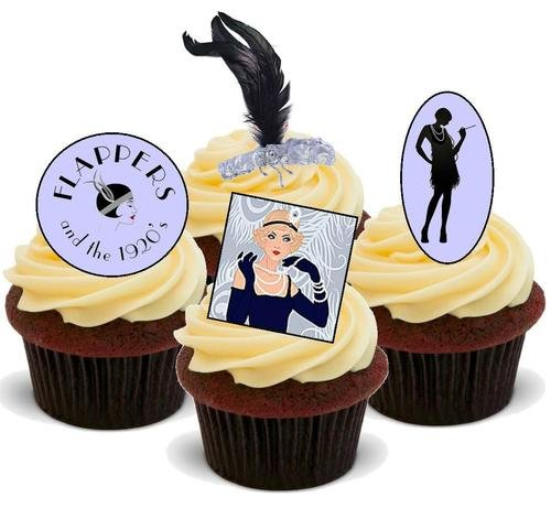 FLAPPERS 1920S MIX - 12 Edible Stand Up Premium Wafer Cake Toppers ()