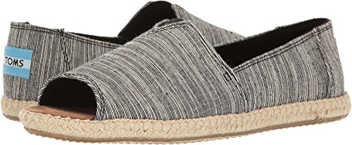 TOMS Women's Alpargata Open Toe Textile Black Microstripe Ankle-High Canvas Flat Shoe - 6.5M