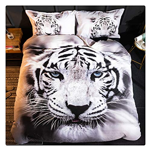 (Homebed White Tiger Bedding Set Queen Size 3D Animal Print for Kids Boys Teens Duvet Cover Set 3 Pieces)