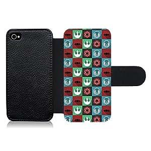 Funda carcasa de cuero para Apple iPhone 4 4S estampado de colores SW
