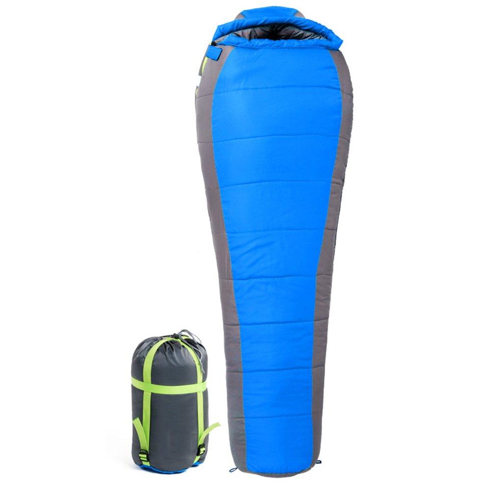 ZXQZ Schlafsack Adult Outdoor Camping Kapuzenschlafsack Indoor Plus Dicke Warme Schlafsack Mumienschlafsäcke (Farbe   Blau, größe   1.8KG)