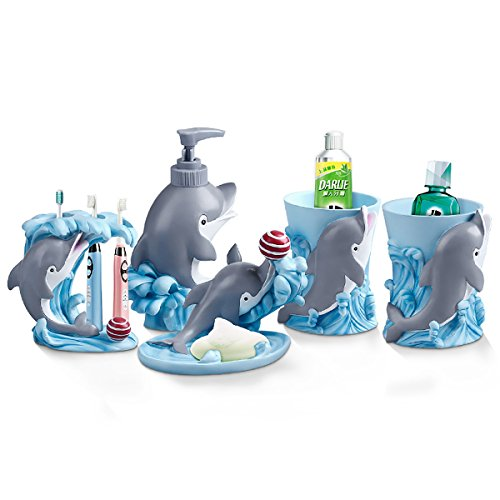 JYP European Creative 5 Pieces Bathroom Accessories Resin Sanitary Ware Set With Dolphins for Home Décor