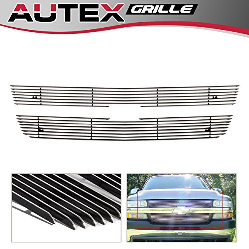 AUTEX C65702A Aluminum Polished Chrome Main Upper Billet Grille Grill Insert Compatible with 2001 2002 Chevy Silverado 2500/2500HD/3500