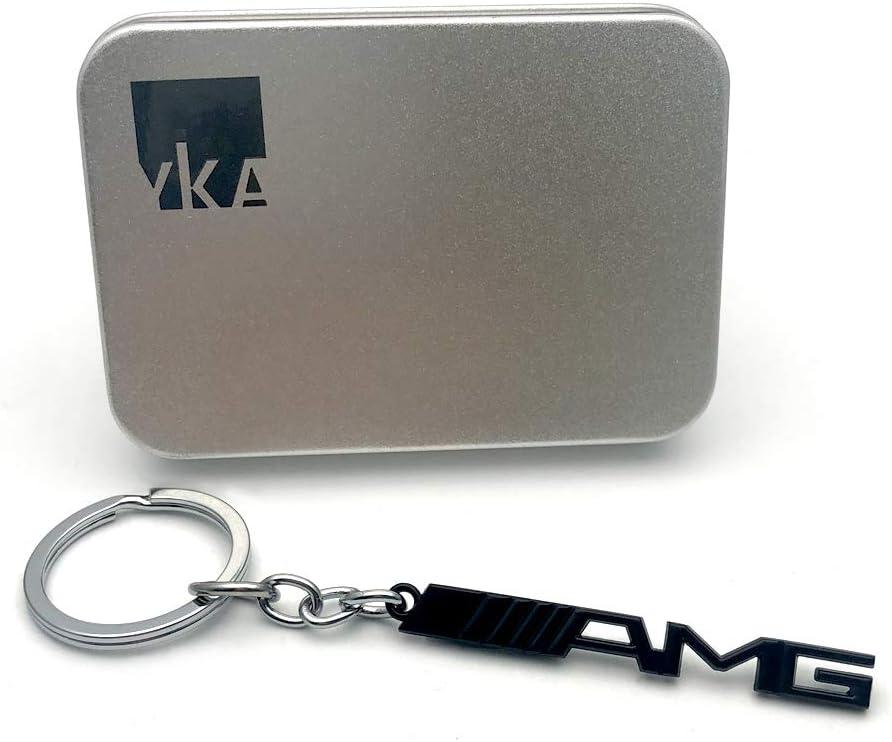 negro Llavero Yika con logo 3D de acero inoxidable AMG Mercedes Benz AMG
