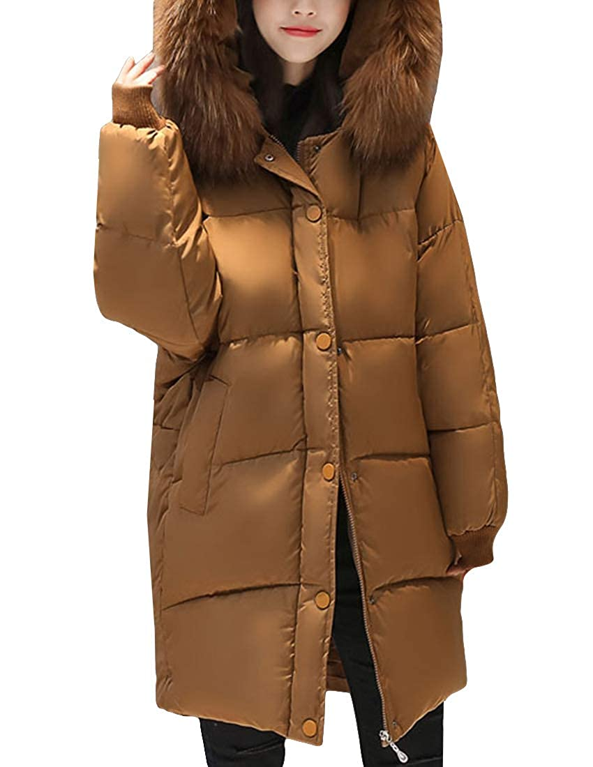 Coffee MFrannie Women Relaxed Fit Insulated Pea Coat Faux Fur Hood Quilted Puffer Parka