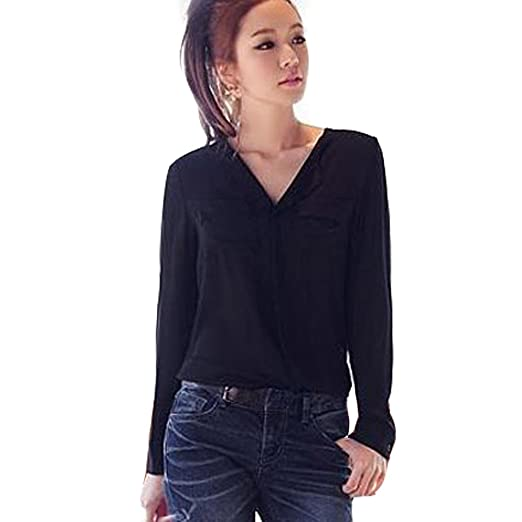 e2162e84 Women's Solid Long Sleeve OL Career Chiffon Button Down Shirt Top Blouse at  Amazon Women's Clothing store: