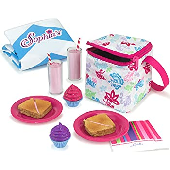 Sophias Doll Food Picnic Playset of 12 Pieces, Thermal Cooler, Matching Picnic Blanket, 2 Pink Lemonade Glasses, 2 Plates, 2 Napkins, 2 Ham Sandwiches & 2 ...