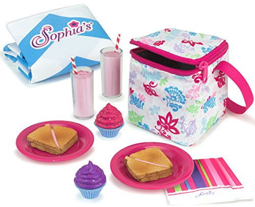Sophia's Doll Food Picnic Playset of 12 Pieces, Thermal Cooler, Matching Picnic Blanket, 2 Pink Lemonade Glasses, 2 Plates, 2 Napkins, 2 Ham Sandwiches & 2 Cupcakes Perfect for 18 -