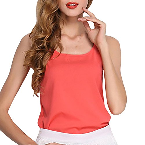 Pattern Vest Fleece Free (Women's Blouse Hot Sale! Farjing Women O-Neck Sleeveless Pure Color Vest Chiffon Tops T-Shirt Blouse(M,Watermelon Red))