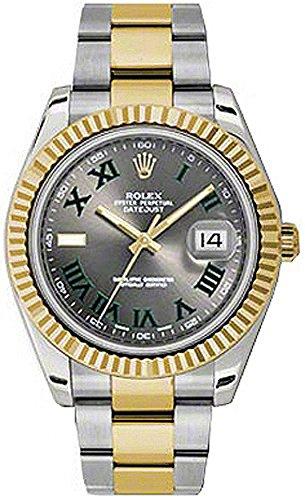 Rolex Datejust Automatic 18kt Gold Bezel Mens Watch (Gray Dial Gold Bezel)