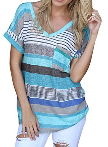 Q&Y Women's V-neck Striped Casual Short Sleeve T-shirt Blouse Tees Tops Blue M