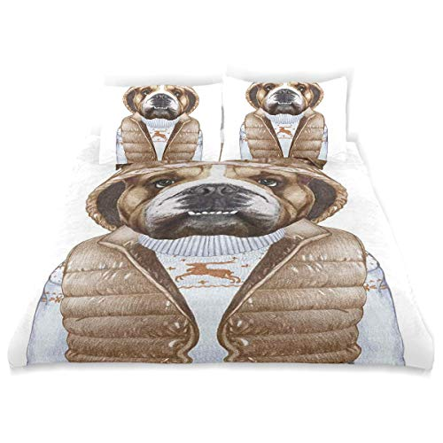 YCHY Decor Duvet Cover Set, Urban Puppy As Human in Down Vest and Xmas Sweater A Decorative 3 Pcs Bedding Set with Pillowcases, - Vest Six Satin After