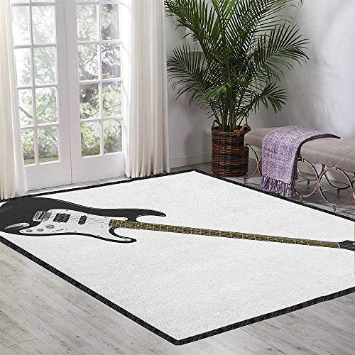 (Guitar Decor Area Rug,Bass Four String Rhythm Music Rock and Roll Element Detailed Illustration Easy Clean Stain Resistant Black White Caramel 47