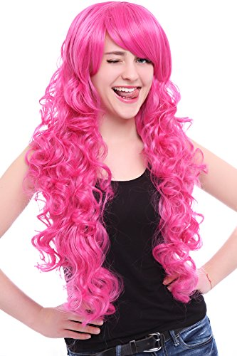 ROLECOS Womens Long Curly Cosplay Wig Synthetic Hair Wig with Side Bang Pink -