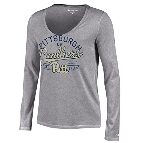 - NCAA Pittsburgh Panthers Women's Champion University Long sleeve V-Neck T-Shirt, X-Small, Gray