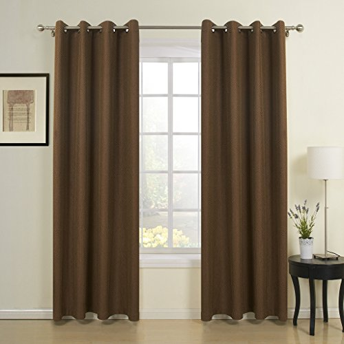 IYUEGO Brown Solid Jacquard Neoclassical Grommet Top Curtains Draperies With Multi Size (Poly Octagon Window)
