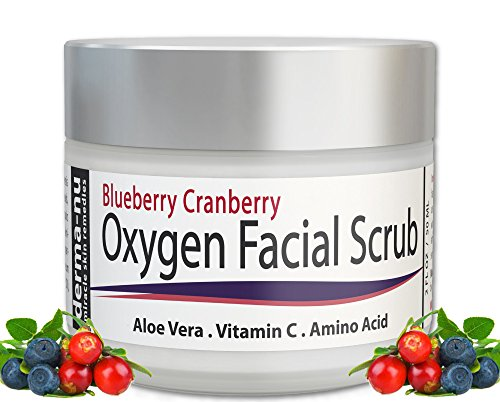 Gommage du visage - Cranberry Blueberry Anti oxydant visage gommage de Derma-nu - Aloe Vera, vitamine C et acides aminés - 2oz
