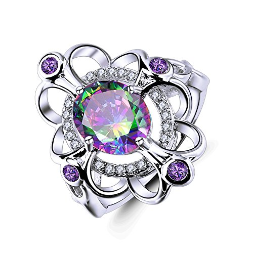 Veunora 925 Sterling Silver 8x10mm Rainbow Topaz Filled Flower Cocktail Ring Size 6