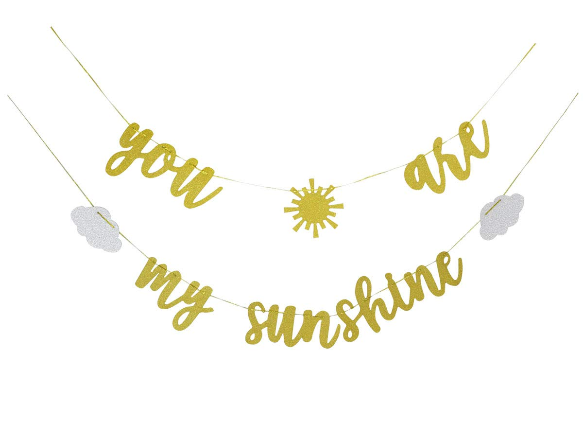 Gold Glitter You Are My Sunshine Banner with Sun and Clouds for Wedding Baby Shower Kid's Birthday Party Decorations Supplies