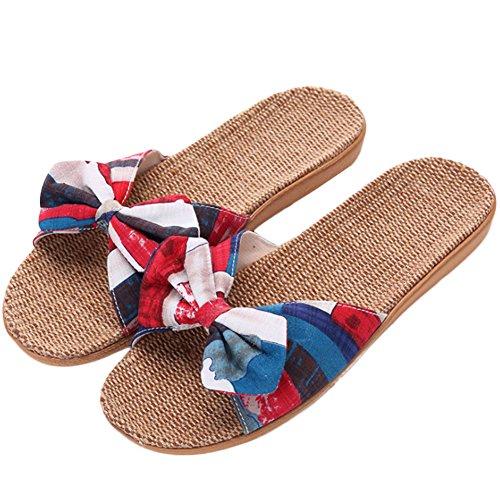 de de Jipai Chaussures Maison 6 Antidérapant TM Chaussons Vacances Fleur Chambre Femmes Pantoufles Lin Sol d'été Ouverts Sandales wRREU