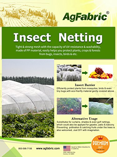 Agfabric 8'-Wx10'-L Mosquito Netting, Bug Insect barrier Bird Net Barrier Hunting Blind Garden Netting