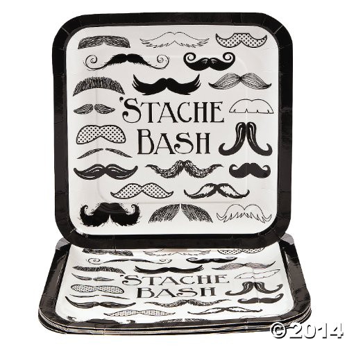 Fun Express Mustache Stache Bash Party Paper Dinner Plates - 9.25 inches - 8 Piece Pack