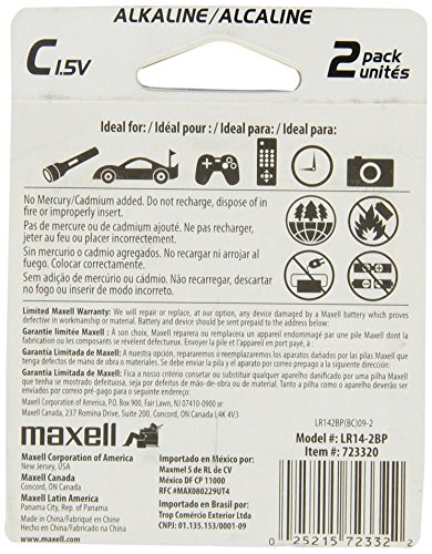 Maxell 723320 Long-Lasting High Value Dependable Alkaline Battery Ready-to-go High Compatability C Cell 2-Pack