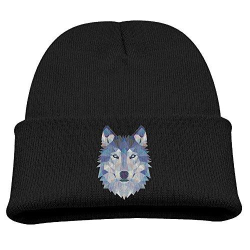 Obachi Wolf Animals Retro Kids Heather Beanie Black