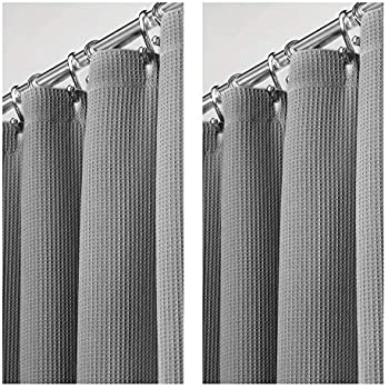 Amazon Com Mdesign 2 Pack Premium 100 Cotton Waffle Weave Fabric Shower Curtain Hotel Quality For Bathroom Showers And Bathtubs Super