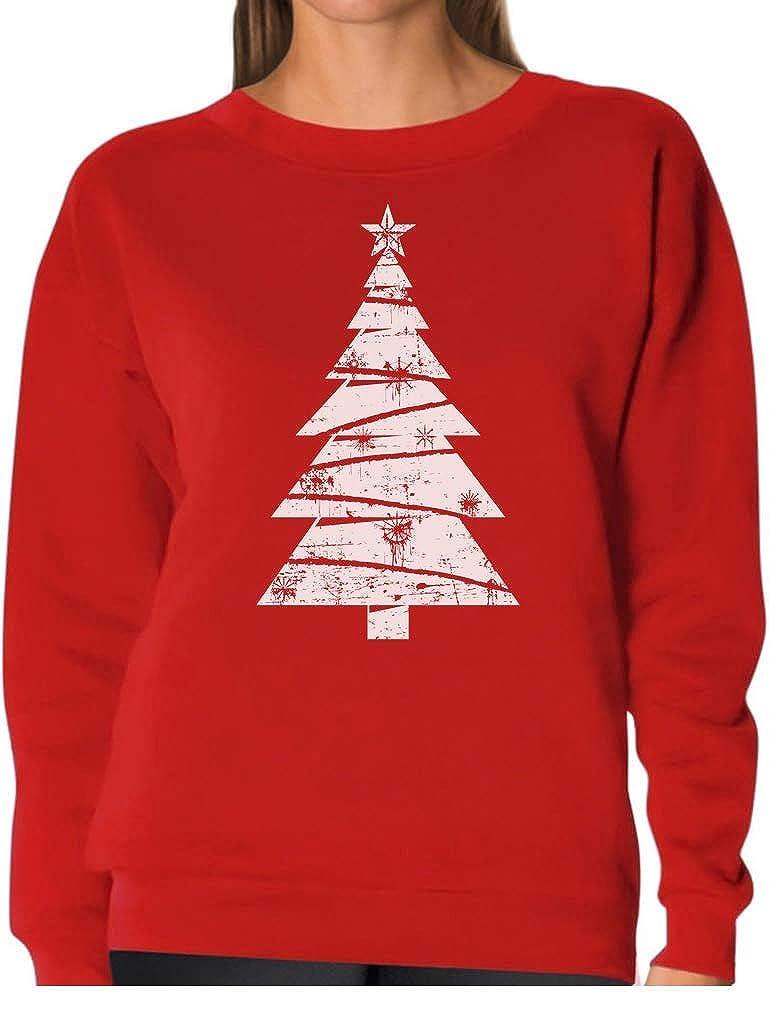 Tstars White Distressed Christmas Tree - Xmas Gift Idea Cool Women Sweatshirt GM00t3g8
