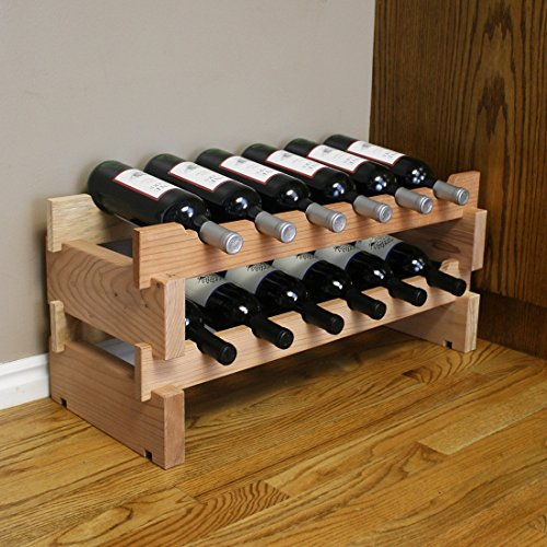 Creekside 12 Bottle Short Scalloped Wine Rack (Redwood) by Creekside - Easily stack multiple units - hardware and assembly free. Hand-sanded to perfection!, Redwood (Scalloped Wine Rack)