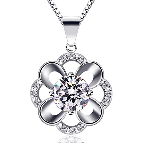 B.Catcher Silver Necklace Womens Jewelry Cubic Zirconia Flower Pendant with 45cm Chain (Cubic Zirconia Pendant Jewelry)