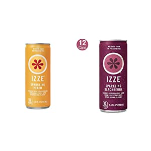 IZZE Sparkling Juice, Peach, 8.4 Fl Oz (24 Count), Package may vary & Sparkling Juice, Blackberry, 8.4 Fl Oz (12 Count)