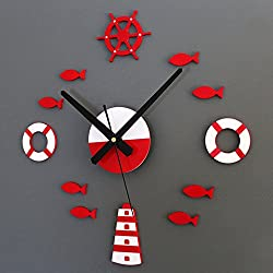 Kaimao Modern 3D Sticker Frameless Large Wall Clock, Large Decorative Wall Clocks Home Decor Mute DIY Clocks-Red and White
