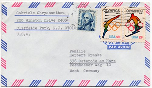 US Postal Cover Air Mail 1976 US Postage Stamps Olympics Scott #1697,1698 And #1283