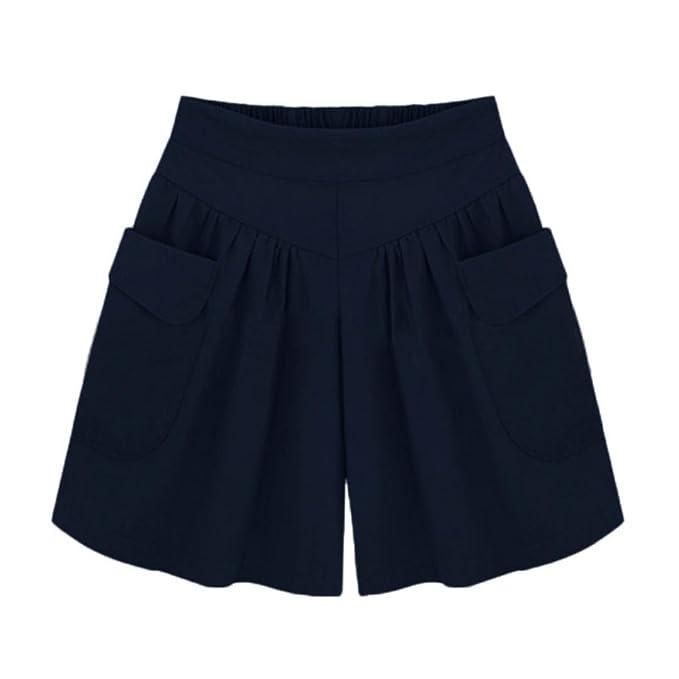 2018d9c753 OHQ Pantalones Cortos Anchos De Pierna Ancha para Mujer Khaki Green Black  Armada Pantalones Cortos Sueltos SóLidos De Las Mujeres Bolsillos Pantalones  ...