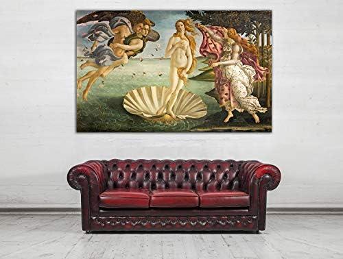 Cuadro Lienzo El Nacimiento de Venus de Sandro Botticelli - Lienzo de Tela Bastidor de Madera de 3 cm - Fabricado en España - Impresión en Alta resolución – Varias Medidas (120, 75): Amazon.es: Hogar
