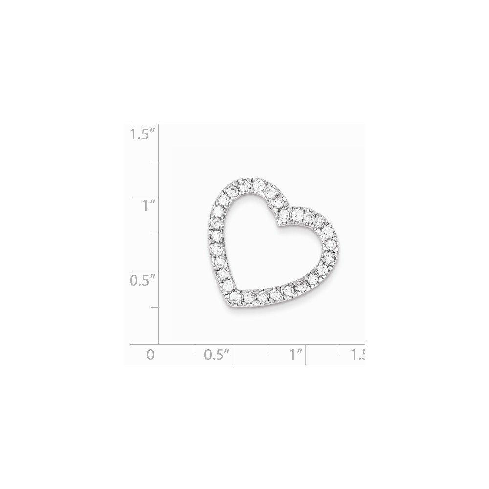 Goldia Sterling Silver CZ Heart Slide Pendant