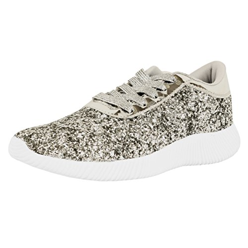 Guilty Shoes Womens Fashion Glitter Metallic Lace Up Sparkle Slip On - Wedge Platform Sneaker Fashion Sneakers, Silverv2 Glitter, 8 B(M) US - Sparkle Shoes