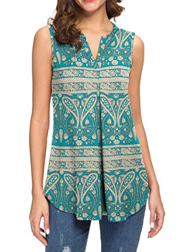 Neineiwu Women's Summer Sleeveless V Neck Casual Tank Tops Blouse Shirts (S,Flower-Dark Green)