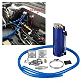 Universal Aluminum Racing Engine Oil Catch Tank CAN Kit Turbo Reservoir Billet Round 350ML Blue