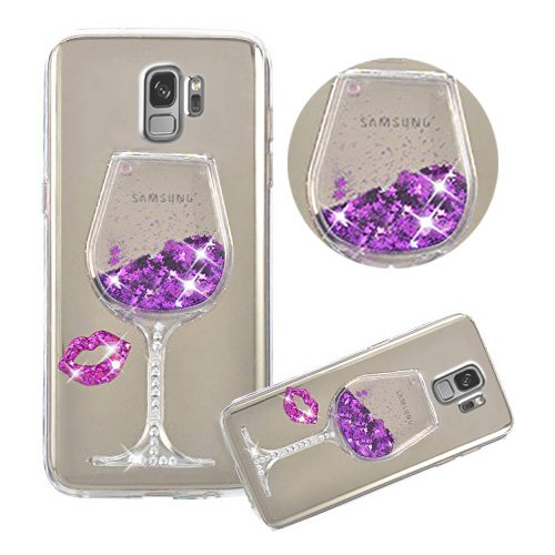 Galaxy S9 Plus Case,Shinetop Soft TPU Rubber Glitter Case 3D Luxury Liquid Quicksand Cover Dynamic Floating Bling Diamond Sparkle Crystal Clear Protective Case for Samsung Galaxy S9 Plus (2018)-Purple