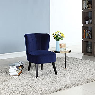 Divano Roma Furniture Classic and Traditional Living Room Velvet Fabric Accent Chair (Navy) - Classic and traditional style accent chair with pleated details Soft and durable velvet upholstery with pleated back rest details Simple and clean design with dark wooden legs to compliment the rest of your home decor - living-room-furniture, living-room, accent-chairs - 518FROnfUkL. SS400  -
